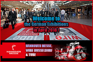 April 2018 in Germany – we invite you to participate in future HANNOVER MESSE, WIRE DUSSELDORF and TUBE